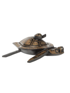 Turtle Dish with Lid Carved 6 Inch