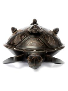 Wooden Turtle Dish with Lid, 16″
