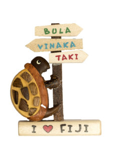 I Love Fiji Wooden Turtle Magnet