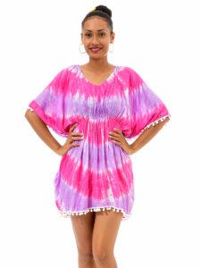 Tye Dye Poncho W/Pompom