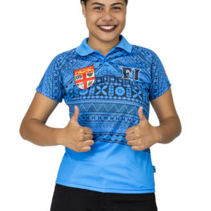 women's fiji flag sublimation polo shirt