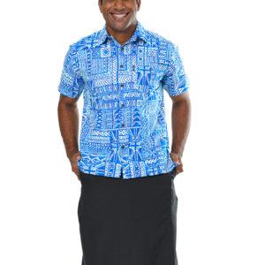 Men's white fiji flag bula shirt