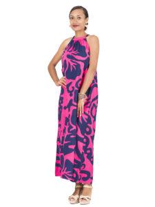 Divah Halter Neck Maxi Dress With Hibiscus Print