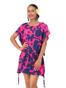 Divah Throw Over Short Dress With Hibiscus Print