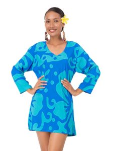 Divah Short Kaftan With Hibiscus Print