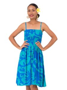 Divah Short Strap Dress With Hibiscus Print
