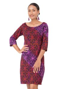 Divah Printed Dress With 3/4 Sleeve