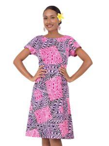 Divah Printed Dress With Cap Sleeve