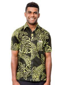 Men's Kaiveikau Premium Shirt, Tapa with Tiare