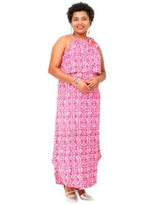 Divah Long Strap Dress, Fish Bone Print