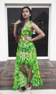 Baby Boo, Long High Low Dress, Masi Leaf