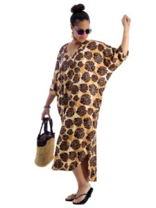 Divah Women's Long Kaftan with Slit Sleeves, Free Size